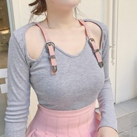 Princess sweet lolita T shirt Japanese sweet soft sister Gray belt sexy Shoulder exposed T shirt fashion special shirt XH066