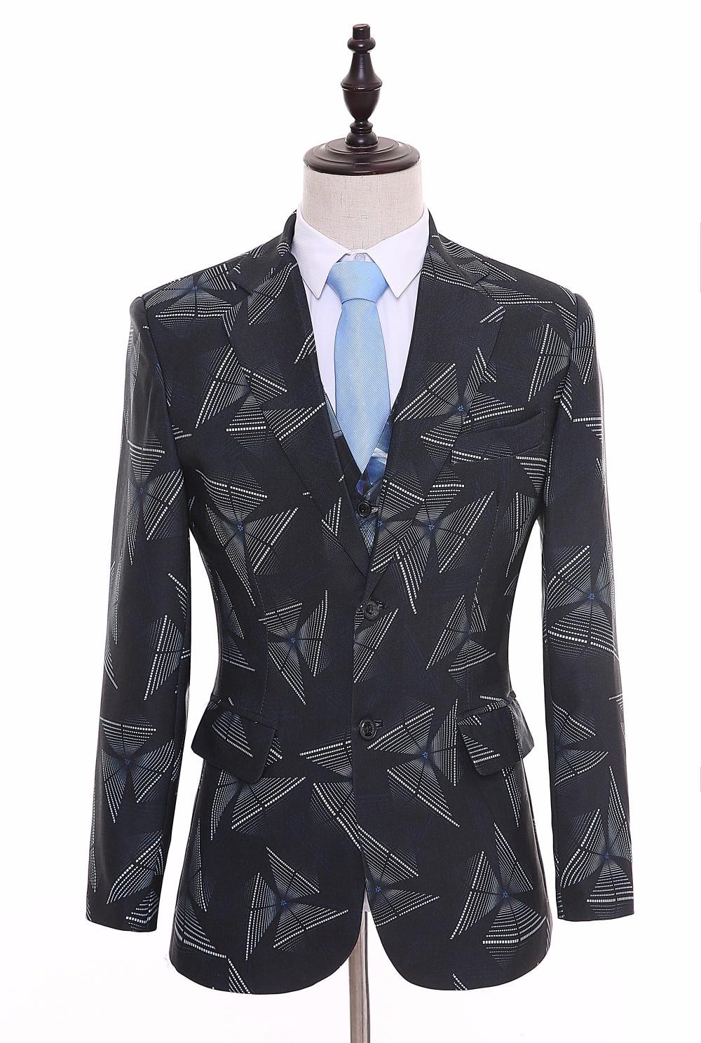 British Style Flower Men's Suits Slim Fit Bespoke Notched Lapel Two Buttons Groom Tuxedso Mens Wedding Suit Jackepant+vest