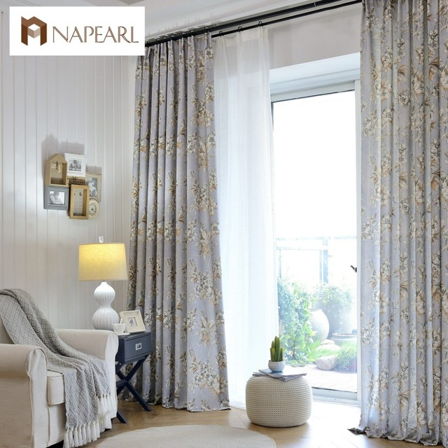 Linen curtains modern printed bedroom curtains American country ...