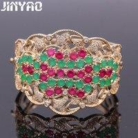 JINYAO Gorgeous Jewelry Green Red Cubic Zircon Cuff Bracelets Gold Color Big Bracelets Bangles For Women Pulseiras Bijoux