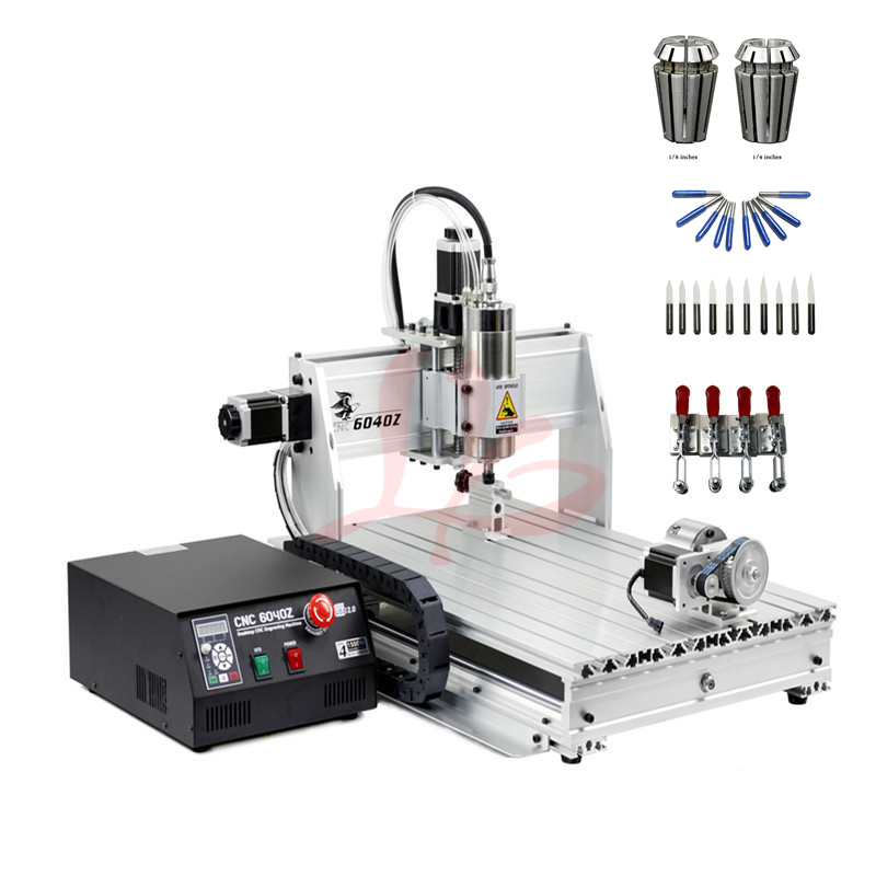 800W spindle metal engraver 4axis LPT port cnc wood router 6040 milling machine with limit switch and free cutter er11 collet jft high efficiency cnc engraving machine 4 axis 800w spindle motor wood router machine with parallel port 6040