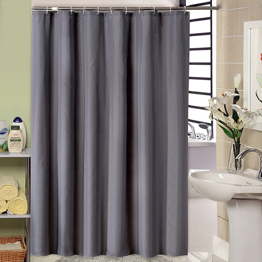 Dark Grey Shower Curtain Solid Color Waterproof Bath Curtains Bathroom For Bathtub Bathing Cover Extra Large Wide 12pcs Hooks