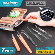 цена на HORUSDY 7Pcs Tweezers Set ESD Safe Anti-Static Stainless Steel Maintenance Repair Hand Tool Set