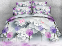 Purple dandelion Twin Full Queen 3D bedding set decorate bed sheet Duvet Cover Pillowcase bed cover Bedding Set California king
