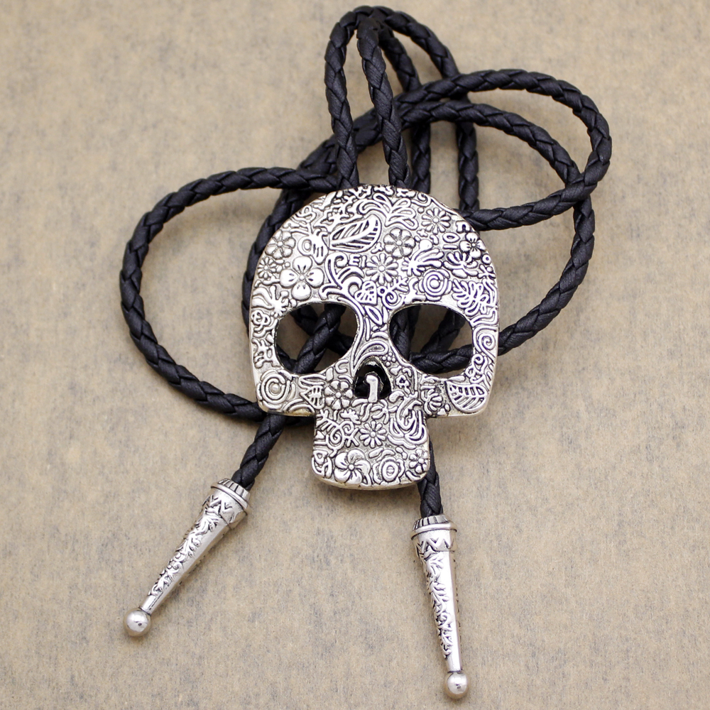 Southwest Indian Big Skull Brocade Leather Lariat Neckace Bolo Tie Line Dance Men Women Unisex Gravatas Corbata Borboleta