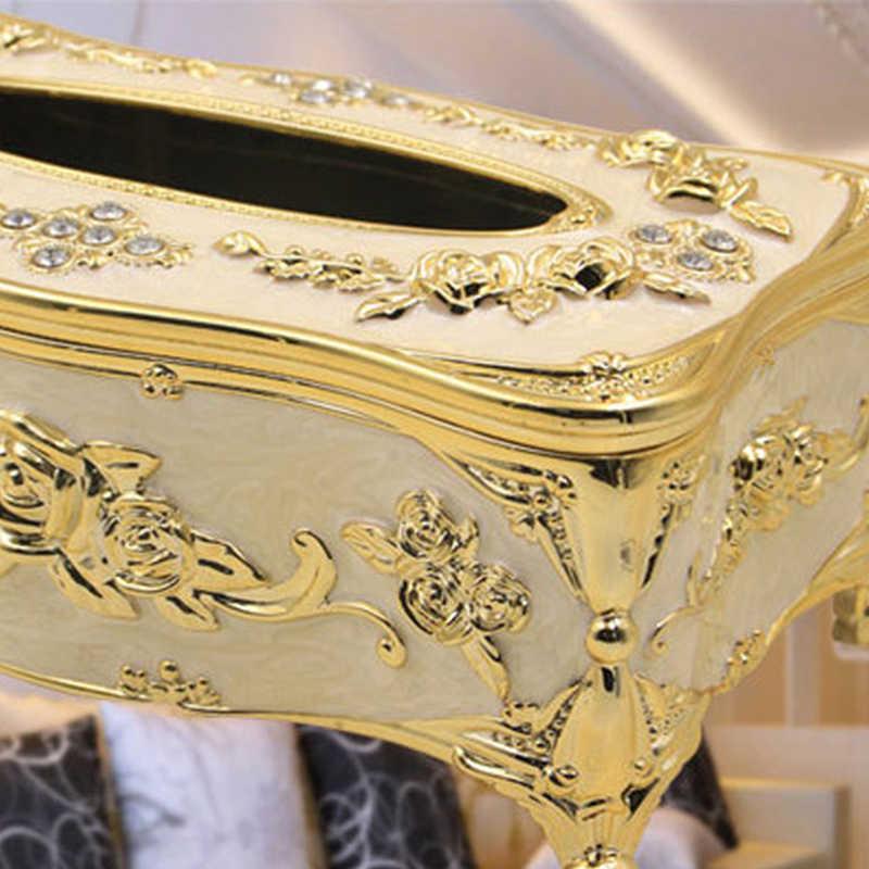Mewah Eropa Tissue Kotak Cover Case Persegi Panjang Peralatan Rumah Tangga Plastik Kertas Serbet Pemegang Rumah Hotel Dekorasi Organizer Perlengkapan