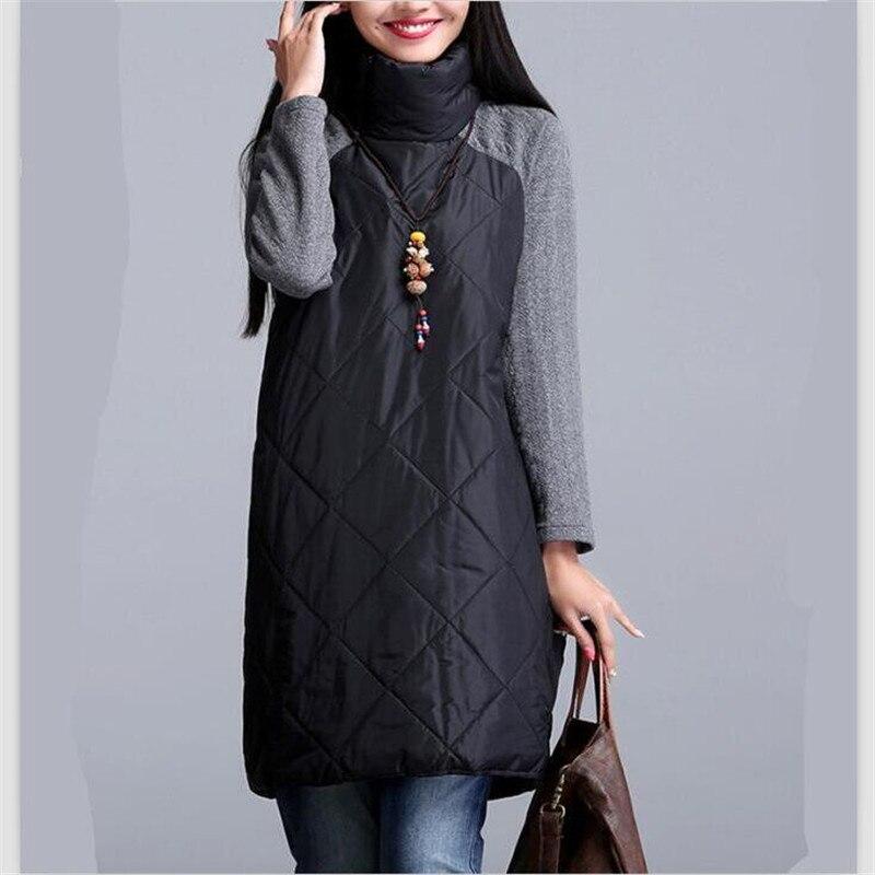 2018 Autumn winter women long coat,patchwork Turtleneck cotton Coat   Parkas   Thickening Warm Clothes,long   parkas   BIG SIZE M-6XL7XL