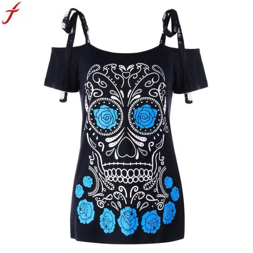 2018 Summer Women Shirts blusas Fashion Skull Floral Printed Short Sleeve Shirt Lace  Spaghetti Strap Blouse Tops roupa feminina