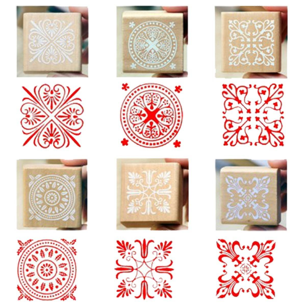 6 Assorted Wooden Stamp Rubber Seal Square Handwriting DIY Craft Flower Lace вейкборд liquid force wake park flex assorted 143