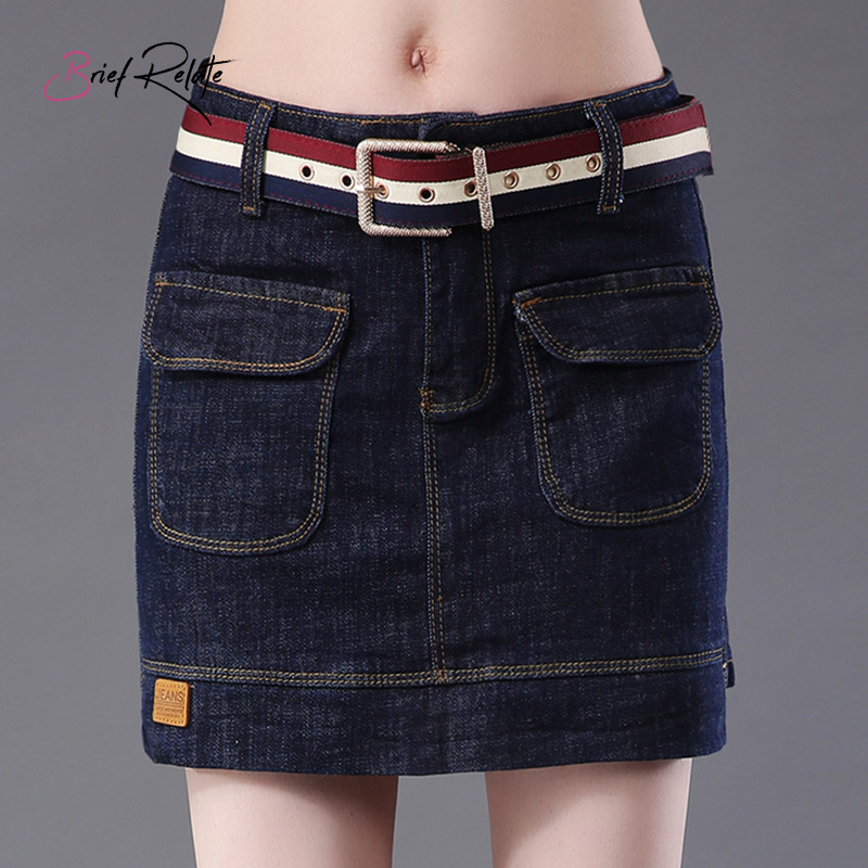 Brief Relate Dark Blue Mini Women Skirt Jeans Pocket Decors Lady Casual Short Skirts Sexy Denim High Qaulity