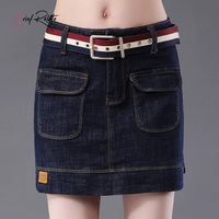 Brief Relate Dark Blue Mini Women Skirt Jeans Pocket Decors Lady Casual Short Skirts Sexy Denim Skirt High Qaulity