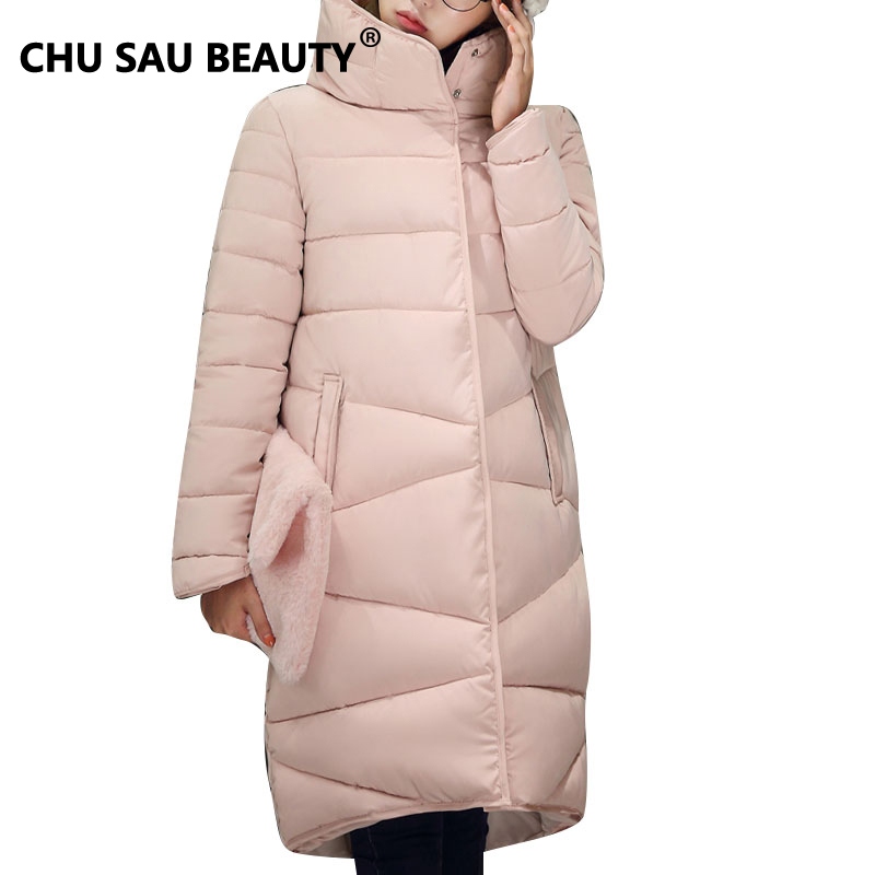 ФОТО 2016 Winter  Down Jacket Fashion Long Coat Slim Thickened Turtleneck Warm Jacket Cotton Padded Zipper Plus Size Outwear Casacos