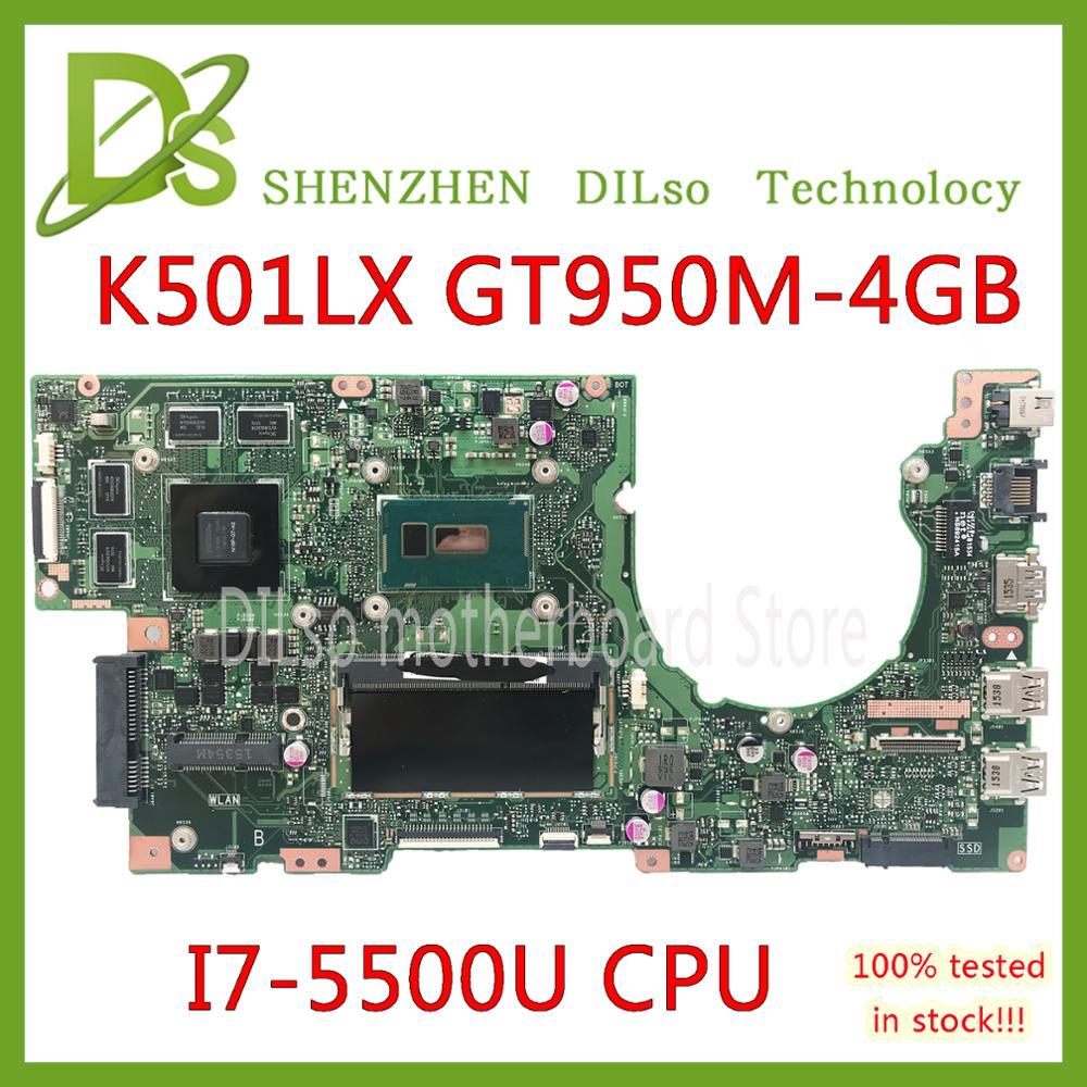KEFU K501LX For ASUS K501LN K501LB A501L K501L V505L Mainboard I7-5500U 4G RAM GTX950M-4GB Motherboard Test Work 100%