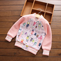 Baby girl jaqueta de outono inverno Do Bebê coelho dos desenhos animados menina impresso fleece outerwear espessamento criança top meninas do bebê casaco de beisebol