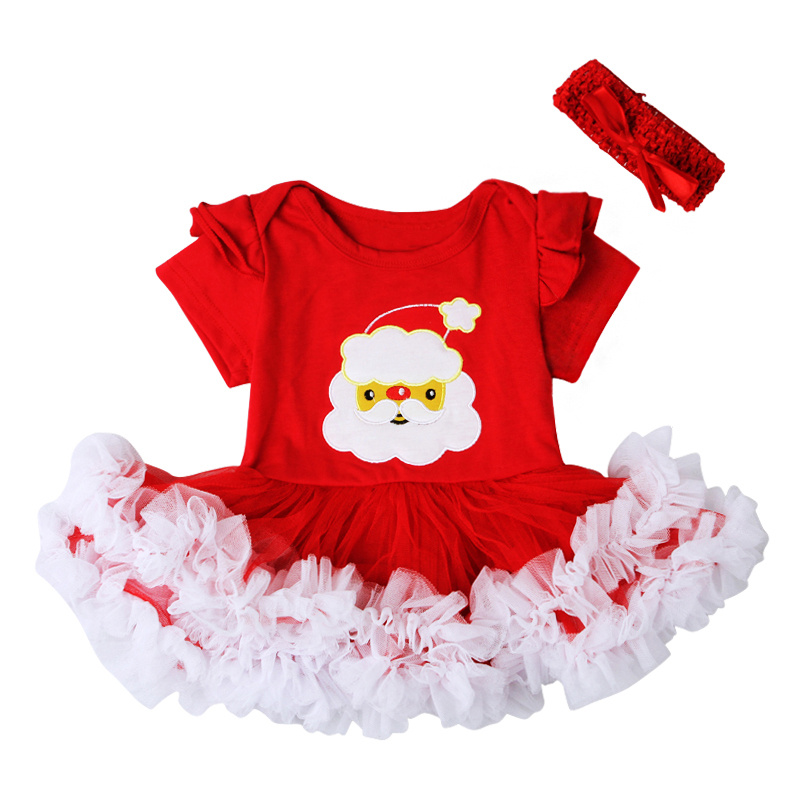 Clothing Sets Cute Baby Bodysuit Dress Christmas Party Santa Claus Costumes Toddler Girls Dress bow Headband 2pcs Baby Girl Clothing Set