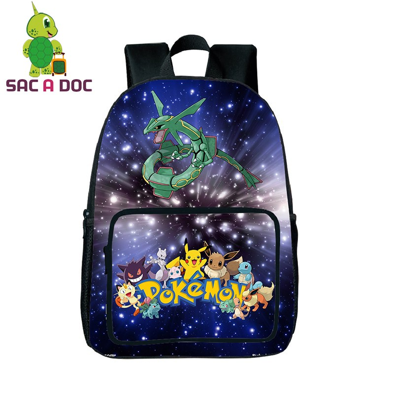 Cool Galaxy Pokemon Rayquaza School Backpack For Teenagers Universe Space Printing Backpacks Boys Girls School Bags Daypack