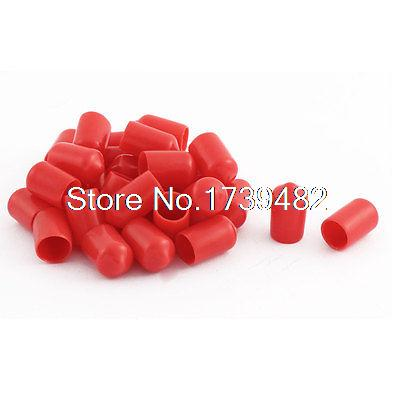 30Pcs Adhesive Glue Lined Heat Shrink Shrinkable End Caps Red