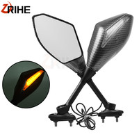 Universal Motorcycle Rearview Mirrors With Turn Signal LED Light For Yamaha FZ6 x max xmax 300 tmax 530 r15 SUZUKI GSXR