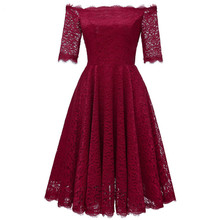 Sexy Autumn Lace Dresses Femme 3/4 Sleeve V-Neck Women Red Dress Hollow Out Female Robes Plus Size 2XL Vestidos de Festa