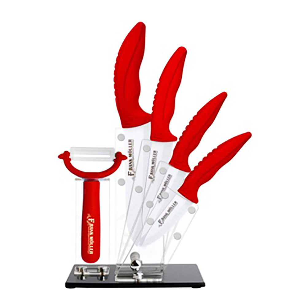 6pcs ceramic knife set colorful kitchen knife with acrylic holder stand and ceramic peeler