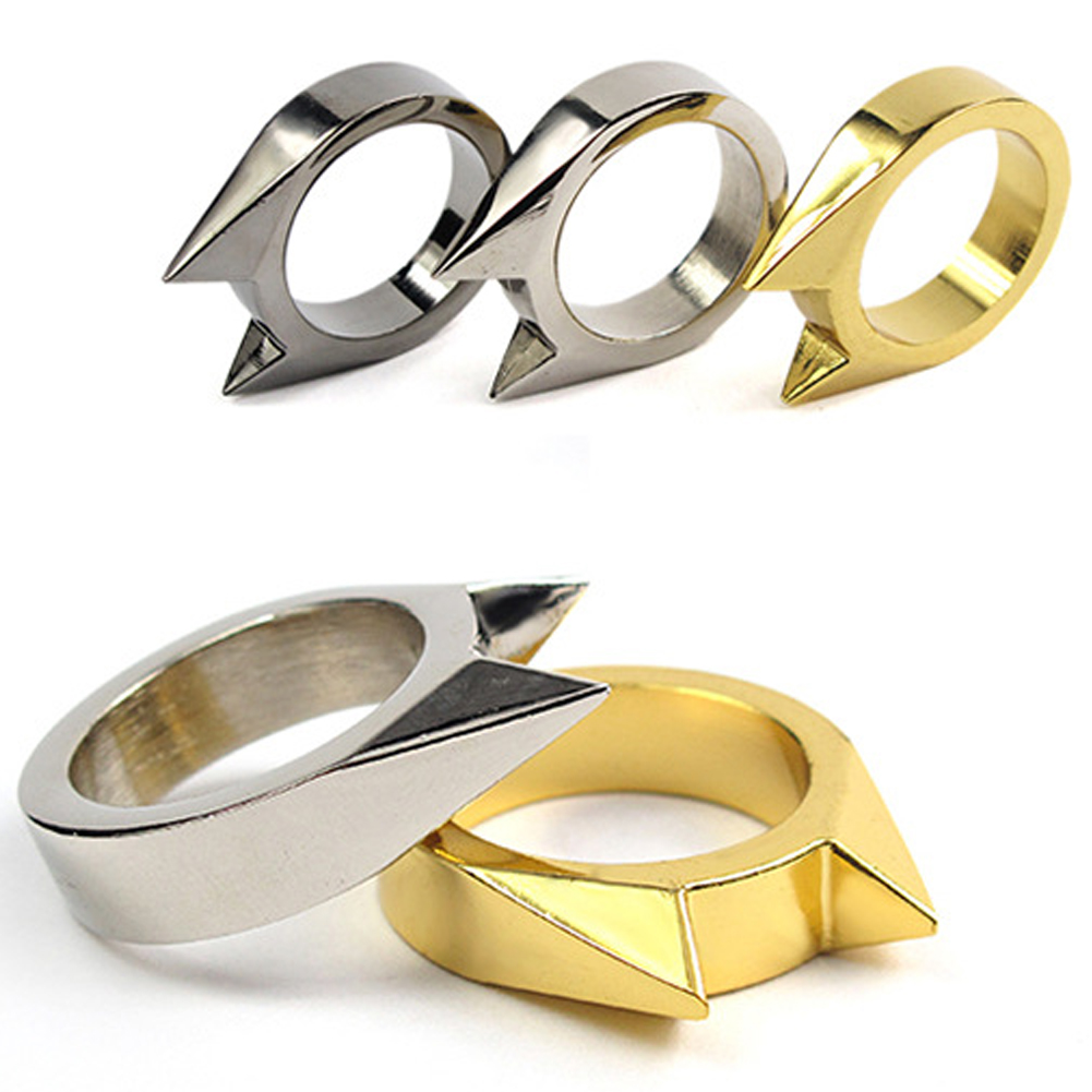 1Pcs Women Men Safety Survival Ring Tool EDC Self Defence Stainless Steel Ring Finger Defense Ring Tool Silver Gold Black Color 10pcs stainless steel self defense product shocker weapons ring survival ring tool pocket women self defense ring 4 colors