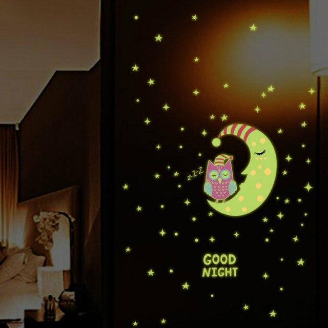 1 set good night glow in the dark owl moon star combination luminous 1 set good night glow in the dark owl moon star combination luminous wall sticker kids fandeluxe Choice Image