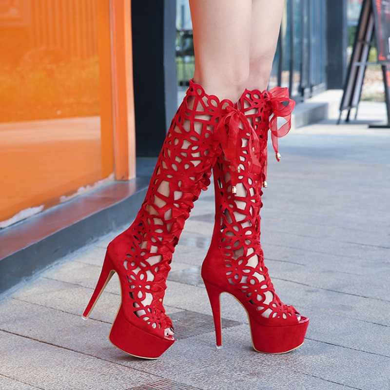 Peep Femmes Hauts Heel Sandale Rouge Ruban 43 Heel Plate mollet Noir Sandales Mode forme Mi Creux De Plus 14 black Red 5cm Chaussures Bottes Dames Toe Taille Talons 35RLAj4