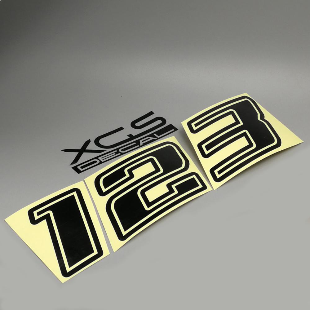 XGS DECAL Sticker Race Number Tilt Vinyl Die Cut Reflective Decal For Car Motorcycle ATV Helmet Sticker  Outdoor Decal