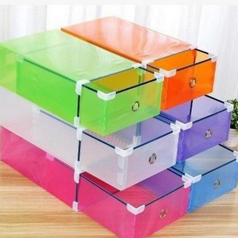 FUNIQUE Candy Color Plastic Metal Wrapping Drawer Collection Box Family Shoe Cabinet Storage Basket Women Men Childs Save Space