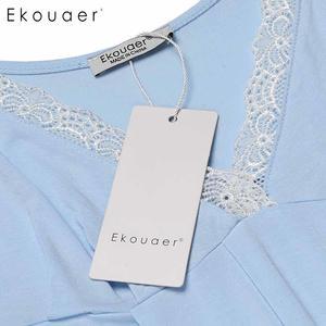 Image 5 - Ekouaer Night Dress Women Sexy Chemise Lingerie Nightgowns V Neck Sleeveless Lace Trimmed Nighties Sleepwear Nightdress 3 Colors