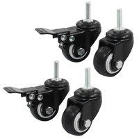 عربة التسوق الجديدة عجلة الفرامل عجلة دوارة ، 1.5 بوصة ، أسود ، 4 قطع