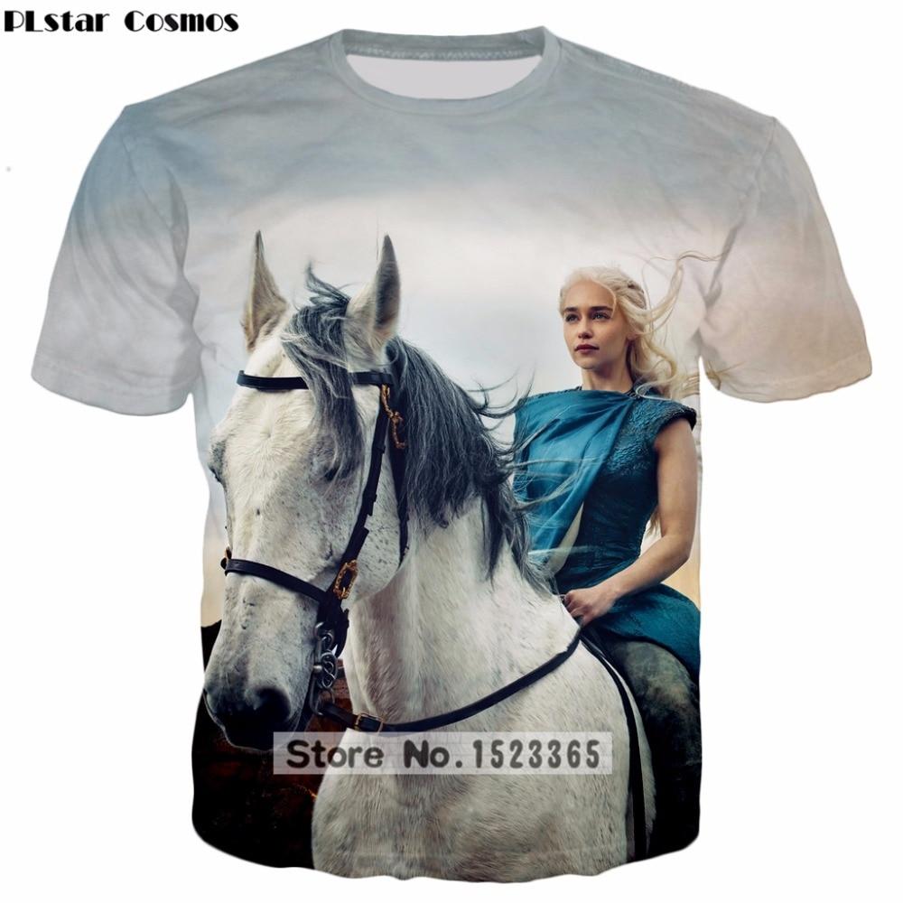 PLstar Cosmos 2018 summer New Fashion t shirt TV play Game of Thrones Daenerys Targaryen 3d Print t-shirt Unisex Tee shirts ZT52
