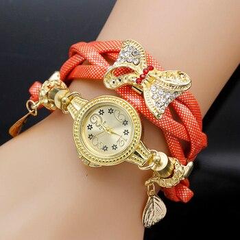 цена на shsby fashion Women Rhinestone Watches Ladies weave rope strap bowknot alloy bracelet quartz wristwatch women gold dress watches