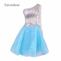 Favordear Lovertjes Wit Korte Cocktail Dresses Prom Party Gown 2017 Korte Paars Bling Homecoming Jurken