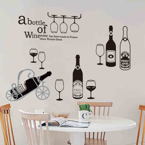 High quality pvc decoration wall sticker with bar and red for Wall art theme dining room