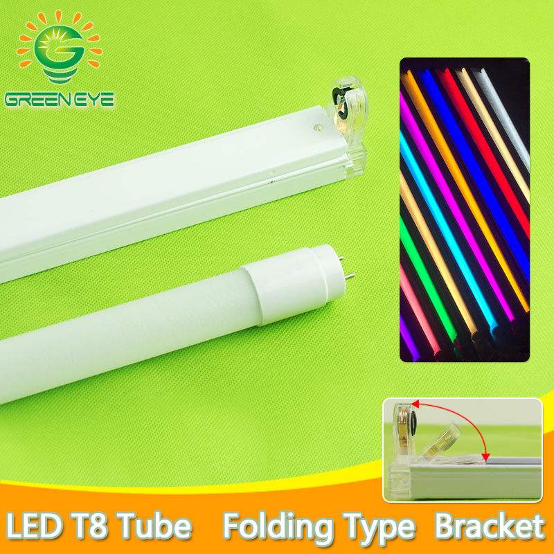 LED Tube T8 Fixtures Bracket 10w 60cm 2Feet 220v Fluorescent Light Tube Lamp Warm Cold White Red Blue  600mm T8 Tube Lighting