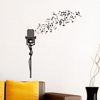 Large Size Creative Modern Design Diy Musical Notes Microphone Pattern Vinyl Wall Stickers Music Bedroom Home