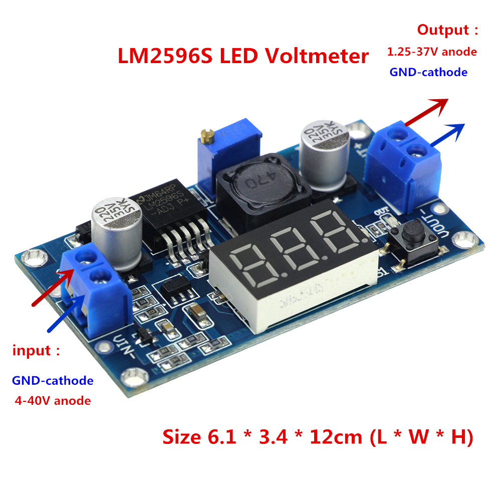 LM2596 LM2596S LED Voltmeter DC-DC Step-down Step Down Adjustable Power Supply Module With Digital Display for arduino Diy Kit