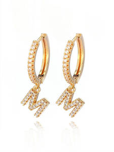 Hoop Earrings CZ Women Jewelry Initial-Letter Gold Silver Small Trendy High-Quality Fashion