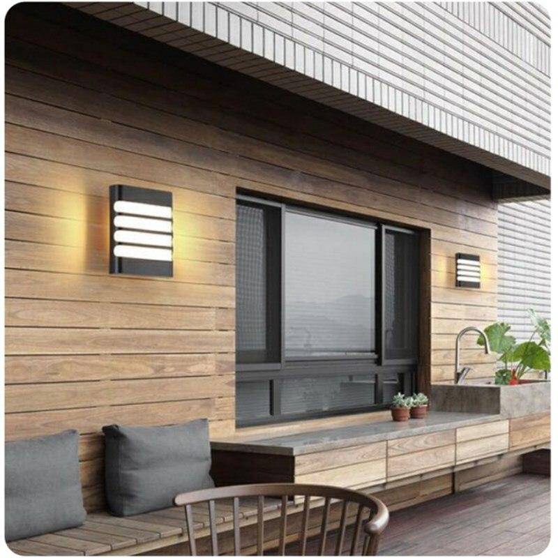 LED duvar su geçirmez açık alan aydınlatması IP65 COB LED sundurma ışıkları Modern kapalı ev dekor plastik duvar lambası Yard koridor ışık