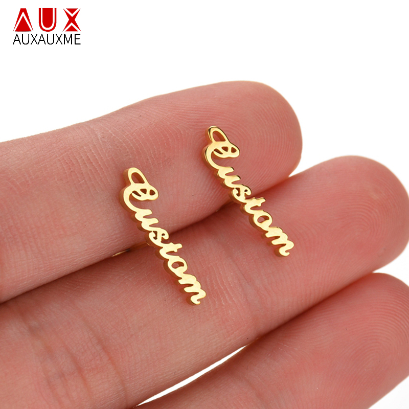 Auxauxme Charm Personalize Name Stud Earring For Women Stainless Steel Customize Letter Piercing Earrings Christmas Gift Auxauxme Charm Personalize Name Stud Earring For Women Stainless Steel Customize Letter Piercing Earrings Christmas Gift