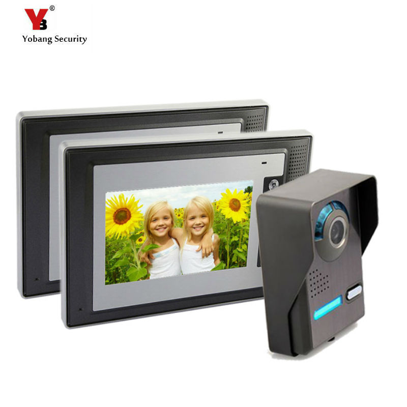 Yobang Security Freeship 7inch Video Intercom Doorbell 1 Camera 2 Monitor RFID Access Control Security For Apartment/hotel Etc