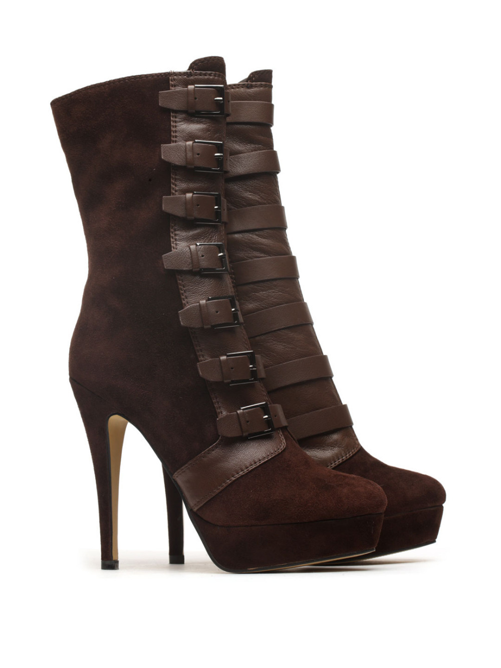 ФОТО Basic Editions Women Suede Leather High Heel Buckles Winter Ankle Short Boots - V850B-8-16