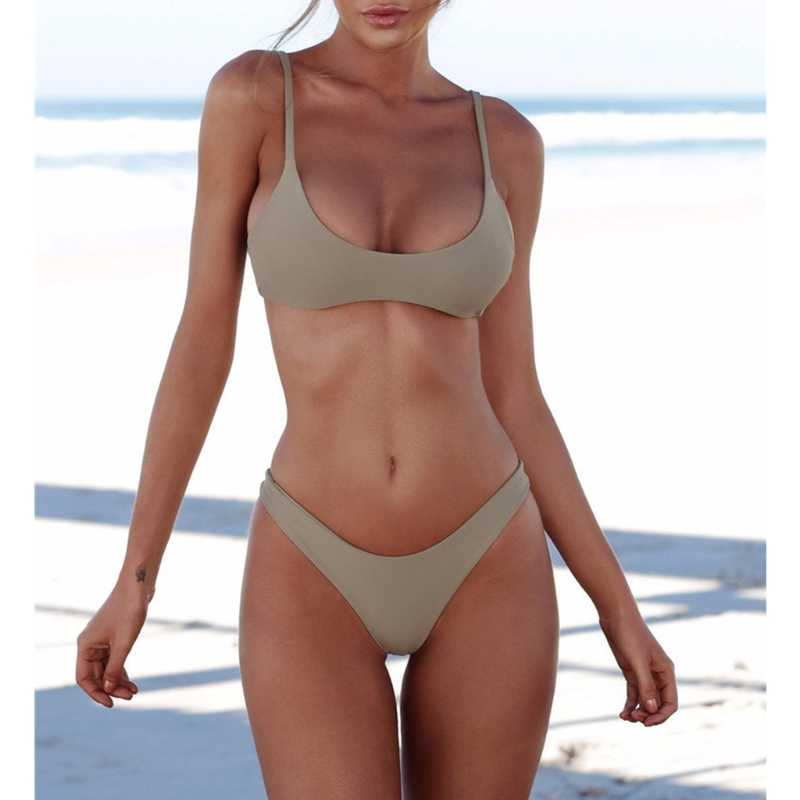 2018 New Women Bikini Set Women Solid Color Padded Bra G-string Thong Bikini Swimwear Two Pieces Swimsuit