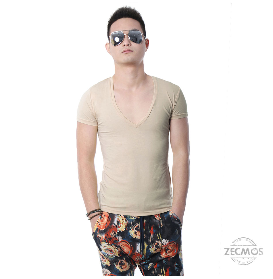 Zecmos Deep V Neck Sexy Men T-Shirt Vintage Short Sleeve Solid Color Muscle Fit T Shirt Men Top Tees Fashion 36