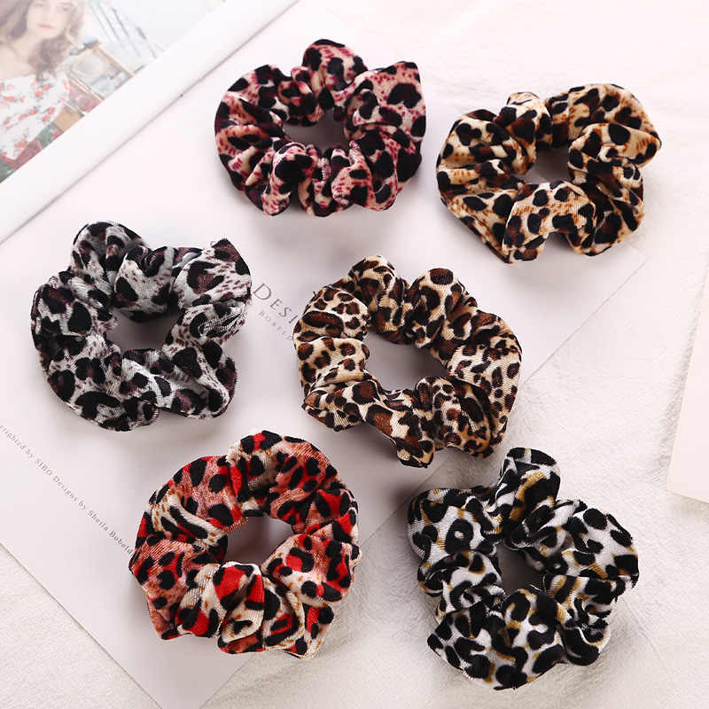 Leopard Elastic Hair Bands Soft Velvet Hair Scrunchie Ponytail Donut Grip Loop Holder Stretchy Hair Band Women Hair Accessories