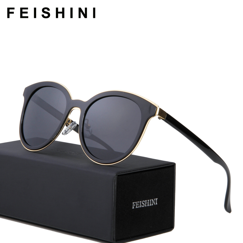 FEISHINI Musim Panas Vintage Kacamata Hitam Wanita Terpolarisasi Cat eye Brand UV400 HD Mirror Quality Sunglasses Wanita Polaroid Lens