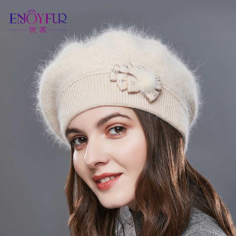 766521abb02 ... ENJOYFUR Cashmere Beret Hat Female Rabbit Knitted Winter Hats Caps Lady  Middle-Aged Cap Fashion ...