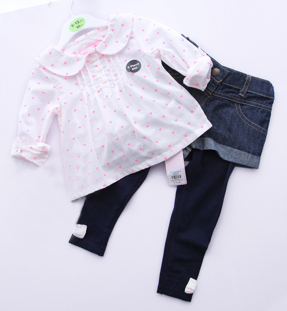 2016 Autumn 3-Piece Baby Clothing Set Girls Full Sleeves Blouse + Denim Shorts + Leggings Infant Suits Kids Outfit Child Clothes