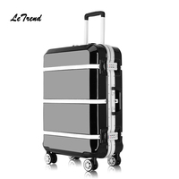 Letrend Retro Black Aluminium Frame Spinner Rolling Luggage Cabin Suitcases Wheels Vintage Trolley Men Carry On Travel Bag Trunk